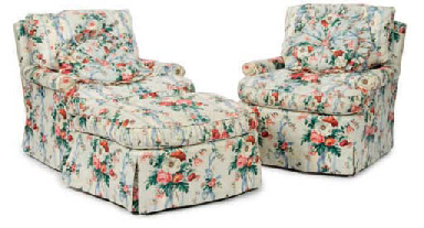 A Pair Of Chintz Upholstered Club Chairs And A Matching Ottoman Second Half 20th Century