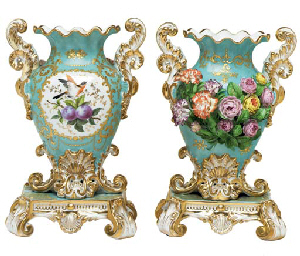 A Pair Of Jacob Petit Porcelain Sky Blue Ground Flower Encrusted Two Handled Vases On Fixed
