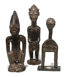 Three West African Carved Wood Tribal Figures 20th
