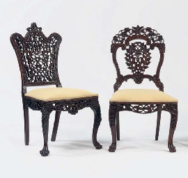 Two anglo indian carved rosewood side chairs second half for Furniture indiana pa