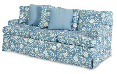 A Blue And White Floral Upholstered Three Seat Sofa