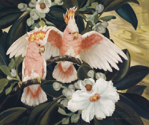Jessie Arms Botke (1883-1971) | Rose Breasted Cockatoos