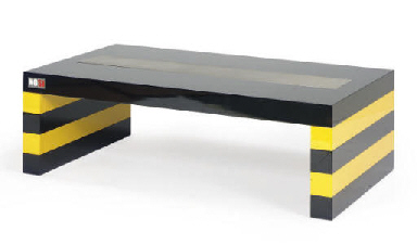 a black and yellow lacquered aluminum coffee table, | labeled