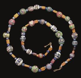 A Roman Glass Mosaic Bead Necklace Circa 1st Century A D
