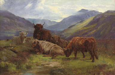 William Watson British Fl 1866 1921 Highland Cattle
