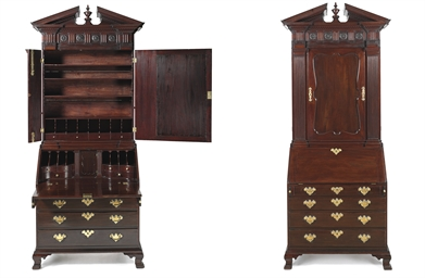 The willing family chippendale mahogany desk and bookcase for Furniture r us philadelphia