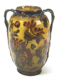 A Large English Madras Ware Two Handled Vase Painted With