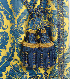 A Selection Of Royal Blue And Gold Silk Damask Curtains