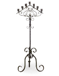 A Wrought Iron Floor Standing Candelabra Late 19th