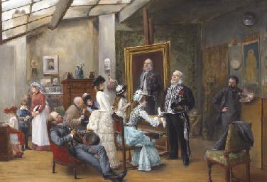 Henri Brispot French 1846 1928 In The Artist S Studio