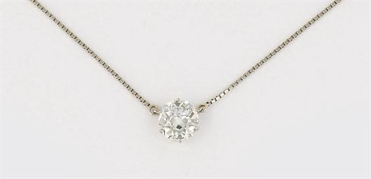 A diamond single stone pendant necklace pendant diamond christies aloadofball Choice Image