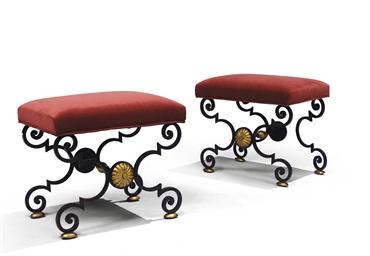 gilbert poillerat 1902 1988 paire de tabourets vers 1946 christie 39 s. Black Bedroom Furniture Sets. Home Design Ideas