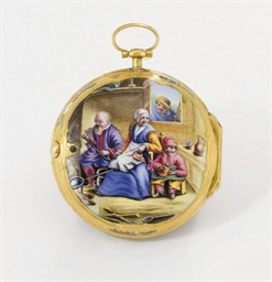 Romilly an 18k gold and enamel openface verge watch for Action romilly