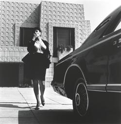 Helmut Newton 1920 2004 Woman In Chanel Suit Smoking Walking Frank Lloyd Wright House In