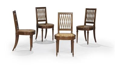 Suite de quatre chaises d 39 epoque louis xvi estampille de for Quatre pieds quatre chaises