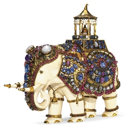 An Antique Ivory And Multi Gem Elephant Christie S