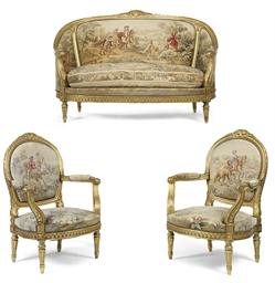 A french giltwood and aubusson three piece salon suite for 212 salon st louis