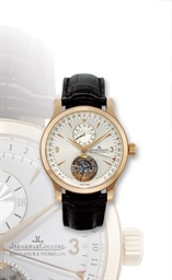 Jaeger lecoultre master tourbillon pink gold automatic dual time tourbillon wristwatch with for Jaeger lecoultre kinetic