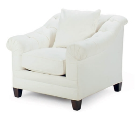 A white cotton canvas upholstered club chair by ralph for White comfy chair