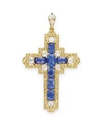 An Antique Sapphire Diamond And Gold Cross Pendant