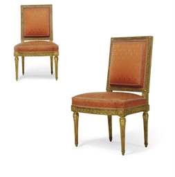 A pair of louis xvi giltwood chaises by georges jacob - Chaises louis 16 ...