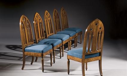 suite de six chaises d 39 epoque neogothique travail probablement espagnol milieu du xixeme. Black Bedroom Furniture Sets. Home Design Ideas