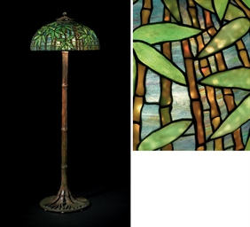 Tiffany studios a 39bamboo39 leaded glass and bronze floor for Tiffany bamboo floor lamp