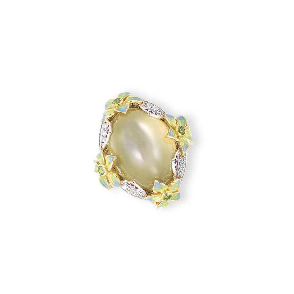 A cat 39 s eye moonstone diamond and ruby ring christie 39 s for Cat s eye moonstone jewelry