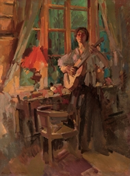 For Sell By Owner >> Konstantin Korovin (1861-1939) , Woman playing the guitar ...