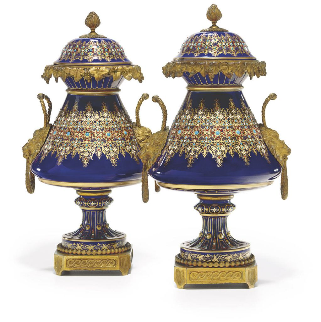 A PAIR OF ORMOLU-MOUNTED SEVRES STYLE PORCELAIN 'JEWELED