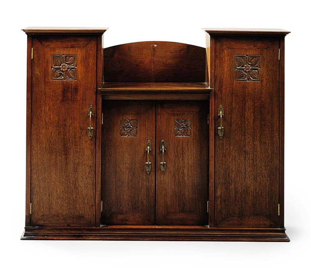 An arthur b simpson arts crafts mahogany table cabinet for Craft cupboard with table