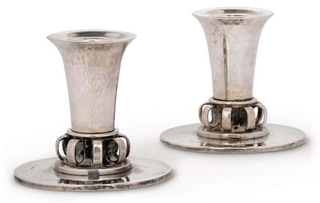 a pair of georg jensen silver candlesticks designed by. Black Bedroom Furniture Sets. Home Design Ideas