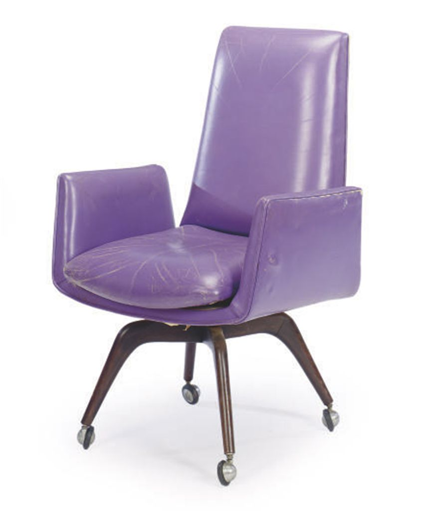 Purple Leather Dining Chairs: A PURPLE LEATHER-UPHOLSTERED DESK CHAIR, , BY VLADIMIR