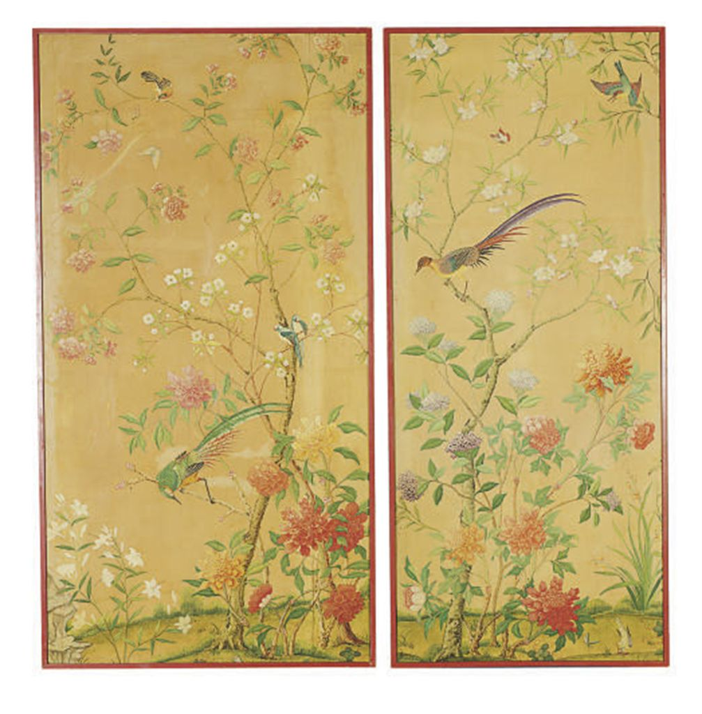 Exquisite Wall Coverings From China: A SET OF FOUR CHINESE PAINTED WALLPAPER PANELS, , 19TH
