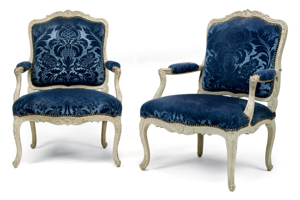 a pair of louis xv grey painted fauteuil la reine by. Black Bedroom Furniture Sets. Home Design Ideas
