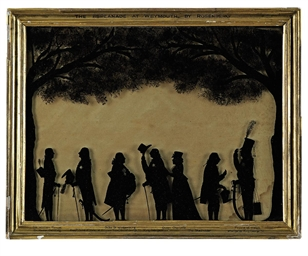 A Regency Reverse Glass Painted Silhouette Group By