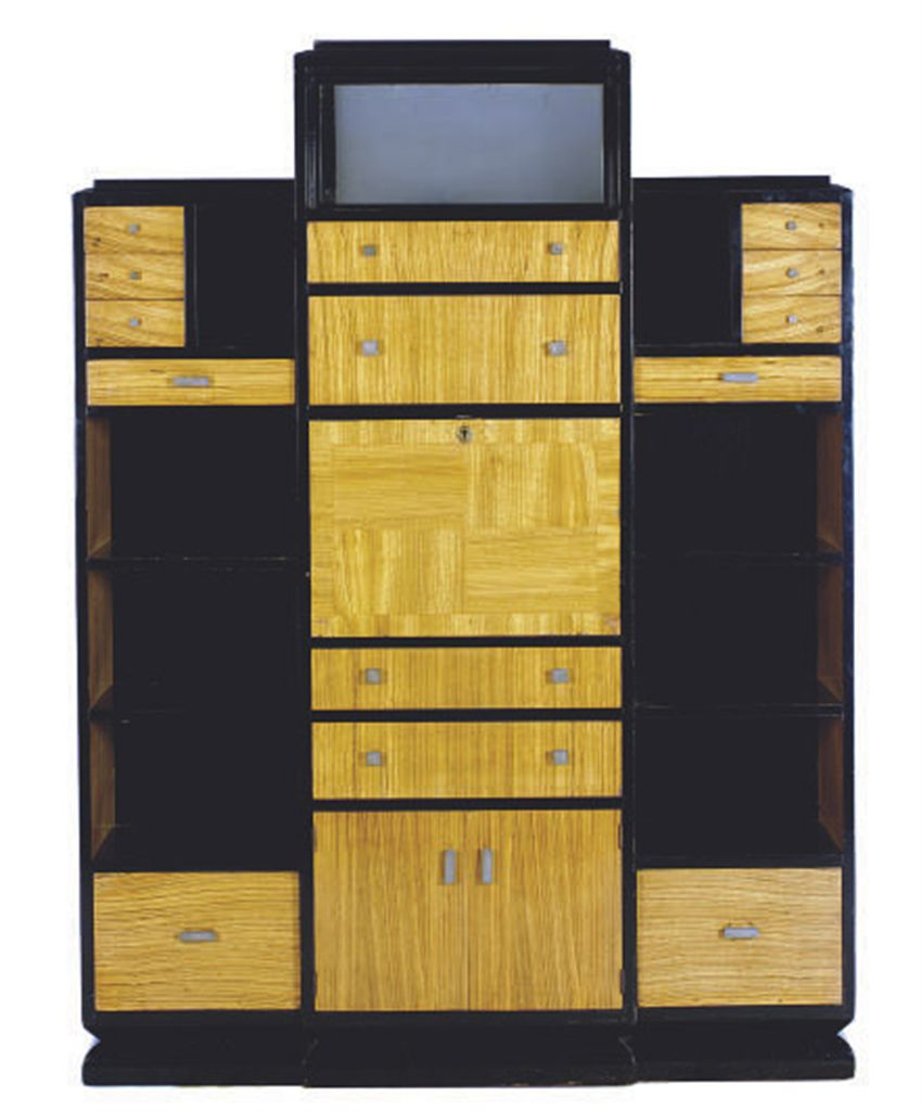 a french moderne fruitwood and ebonized secretaire a. Black Bedroom Furniture Sets. Home Design Ideas