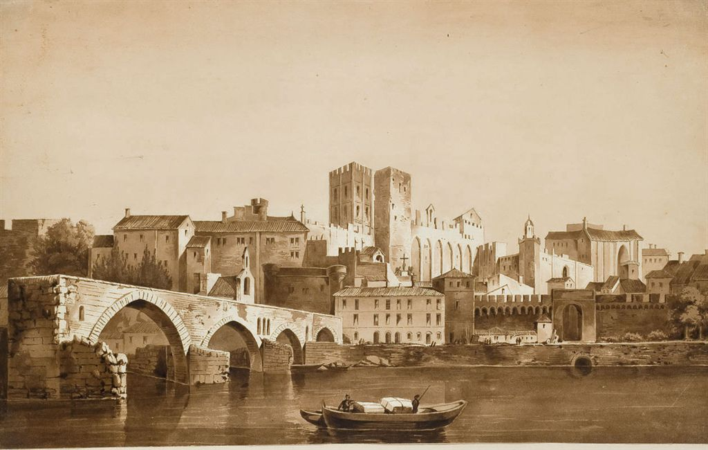 louis gabriel eugene isabey 1803 1886 vue du palais des papes d 39 avignon depuis les rives du. Black Bedroom Furniture Sets. Home Design Ideas