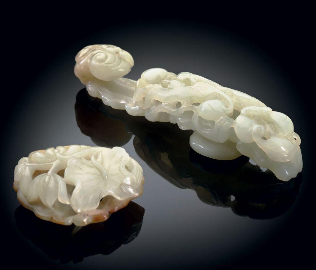 Chinois artiste sculpté blanc naturel jade Magnolia Fleurs Pendentif