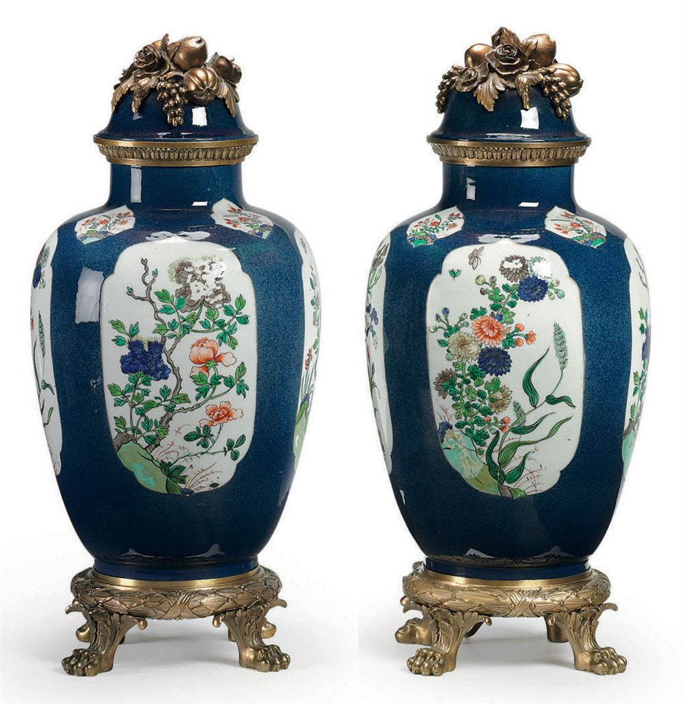 A PAIR OF FRENCH ORMOLU-MOUNTED SAMSON PORCELAIN VASES AND