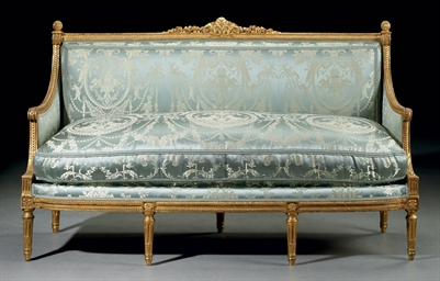 a louis xvi gilt walnut canape by georges jacob circa. Black Bedroom Furniture Sets. Home Design Ideas