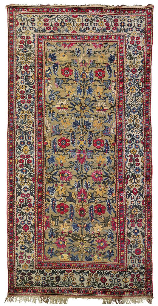 A Silk And Metal Thread Kashgar Carpet East Turkestan