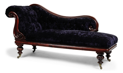 A Victorian Mahogany Chaise Lounge Mid 19th Century