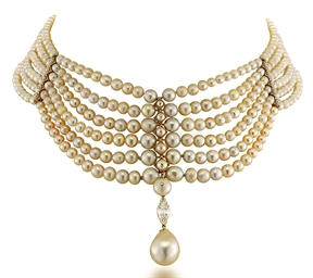 A Natural Pearl And Diamond Choker Necklace Christie S