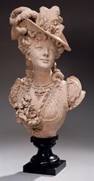 buste en terre cuite representant une jeune femme au chapeau a plumes albert ernest carrier. Black Bedroom Furniture Sets. Home Design Ideas