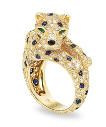 A Diamond Sapphire And Emerald Panth 200 Re Ring By