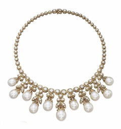 A Cultured Pearl And Diamond Necklace By Van Cleef
