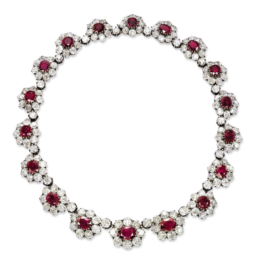 AN IMPORTANT ANTIQUE RUBY AND DIAMOND NECKLACE | Christie's