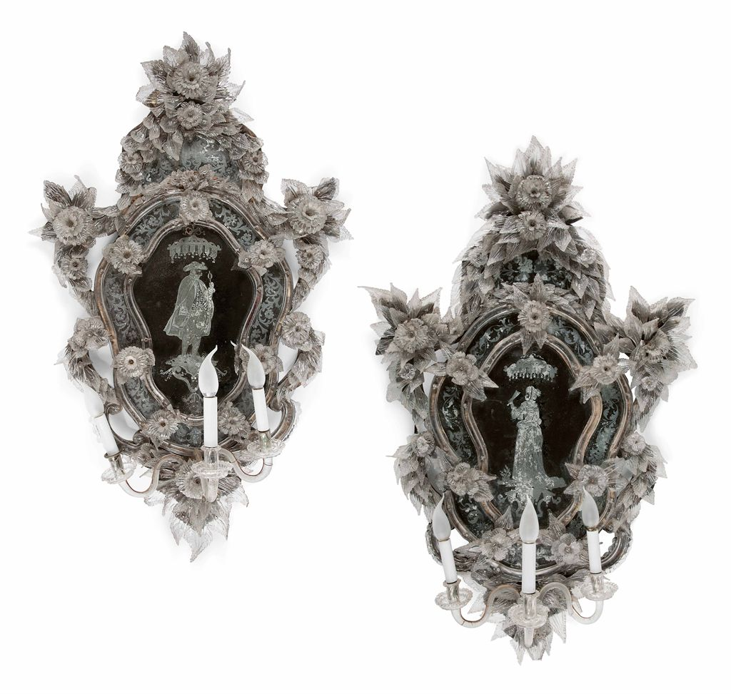 Paire de miroir girandole de style baroque travail for Miroir venitien