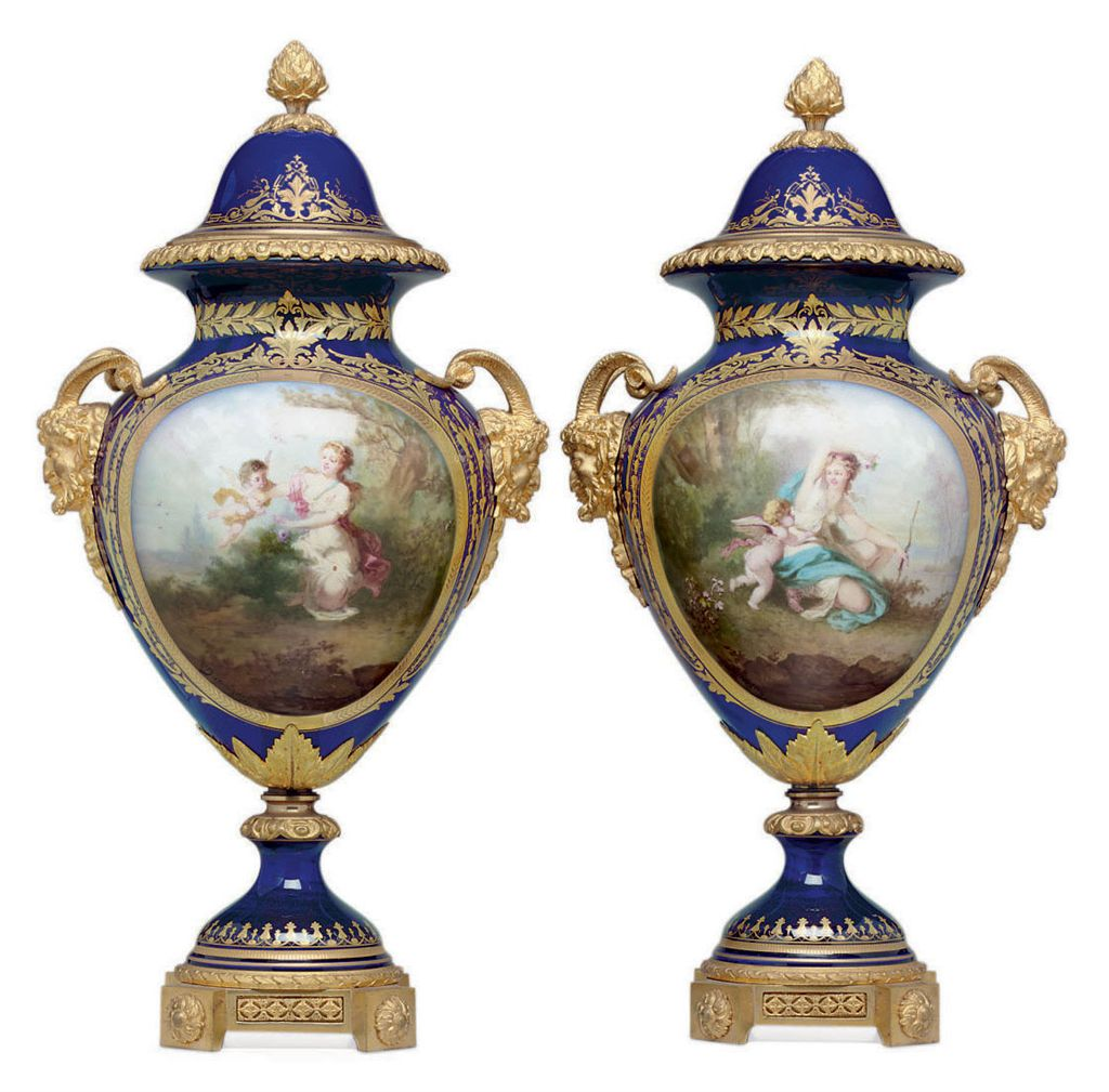 A PAIR OF ORMOLU-MOUNTED SEVRES STYLE PORCELAIN COBALT